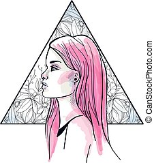 Fashion vector illustration. Head of a young girl with pink long hair, on triangle floral background