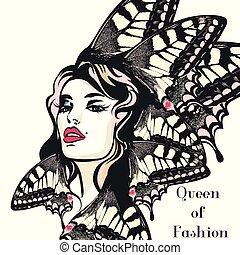 Fashion vector illustration, portrait of young butterfly woman with beautiful lips and eyes