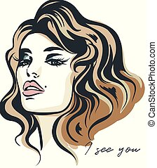 Fashion vector illustration, portrait of young woman with beautiful lips and eyes. I see you