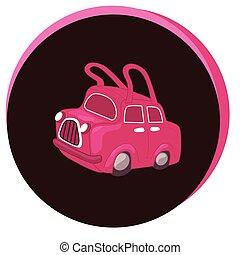 Fashion Vector Illustration. Stylish ladies handbag in the form of a car.