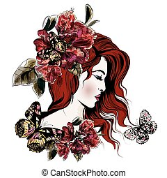 Fashion vector illustration with beautiful young long ??? hared  woman and flowers on her head