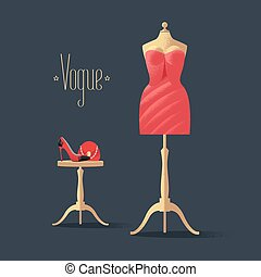 Fashion vector illustration with little red dress