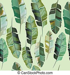 Fashion vector illustration with tropical banana plants.eps