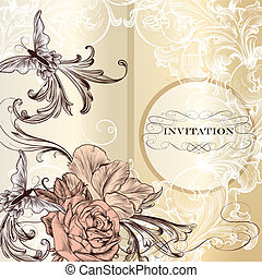 Fashion vector invitation card with roses
