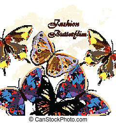 Fashion vector pattern with butterf