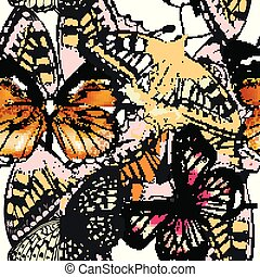 Fashion vector pattern with butterflies.eps