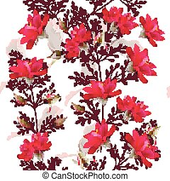 Fashion vector pattern with pink, red roses
