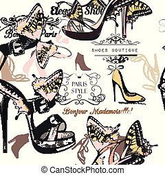 Fashion vector pattern with stylish female shoes decorated by butterflies