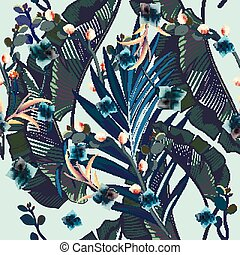 Fashion vector pattern with tropical palm leaves