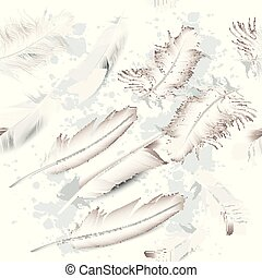 Fashion vector pattern with white realistic feathers