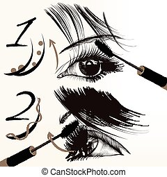 Fashion vector poster with makeup, - Fashion conceptual...