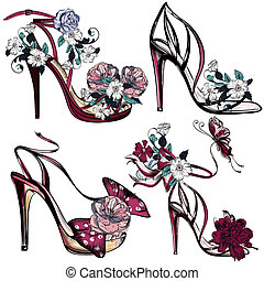 Fashion vector set with sandals and flowers for design