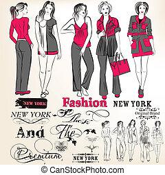 Fashion vector stylish girls