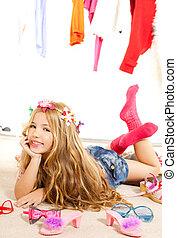 fashion victim kid girl wardrobe messy backstage