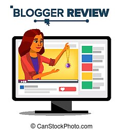 Fashion Video Blogger Vector. Blog Channel. Woman Popular Video Streamer Blogger. Recording. Review Concept. Online Live Broadcast. Illustration