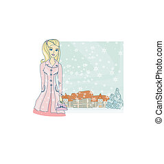 fashion winter girl with shopping bags