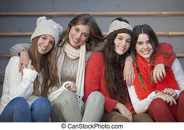 fashion winter teens with beautiful smiles