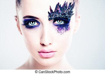 Fashion Woman. Art Creative Makeup. Face Closeup