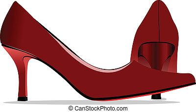 Fashion woman blue shoes. Vector i