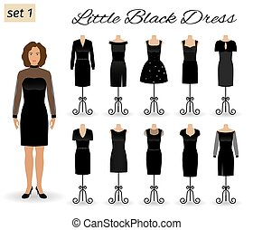 Fashion woman character in little black dress. Set of cocktail dresses on a mannequins.