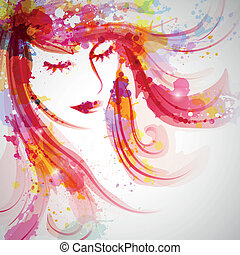 Fashion Woman - Vector Illustration of an Abstract Fashion...