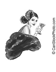 Fashion woman with cocktail  in black and white color