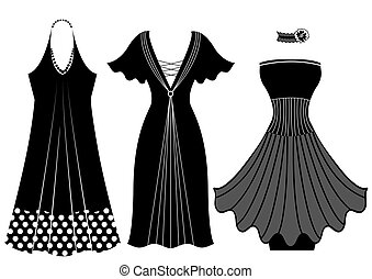 Fashion woman dresses.Vector black silhouette isolated on white