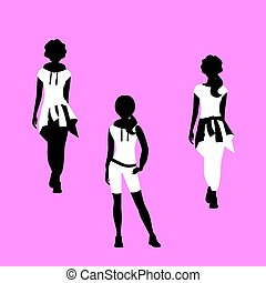 Fashion woman model silhouettes set in various poses in a free style. Vector illustration