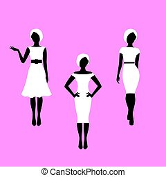 Fashion woman french style model silhouettes