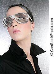 fashion woman futuristic silver glasses black shirt