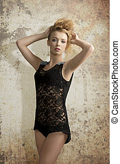 fashion woman in babydoll - sexy girl with curly modern hair...