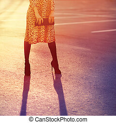 Fashion woman in leopard dress with clutch handbag posing evening on sunset light, vintage colors photo