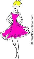 fashion woman in pink dress