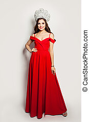 Fashion woman in red dress portrait