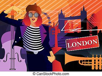 Fashion woman in style pop art in London.