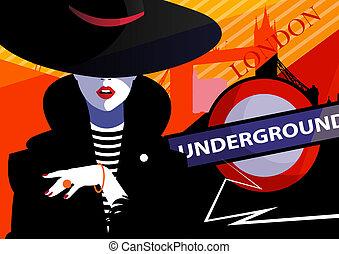 Fashion woman in style pop art in London