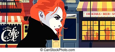 Fashion woman in style pop art. The girl on the street of...