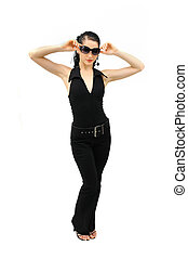 Portrait of young hispanic fashion female standing isolated