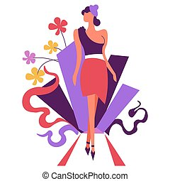 Fashion woman modeling , walking straight, foliage decor elements vector.