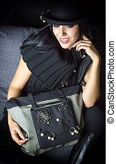 fashion woman on the sofa