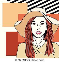 Fashion woman pop art cartoon
