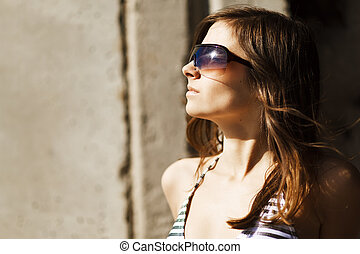 fashion woman portrait wearing sunglasses