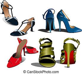 Fashion woman shoes. Vector illustration