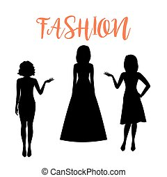 Fashion woman silhouette in summer dresses