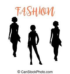 Fashion woman silhouettesa in loose clothes