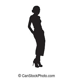 Fashion woman standing, posing female model in trousers with hands in pockets. Isolated vector silhouette