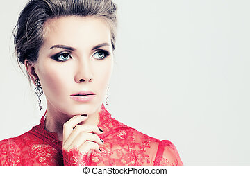 Fashion Woman Thinking on Background with Copy Space