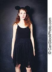 Fashion Woman wearing Black Dress