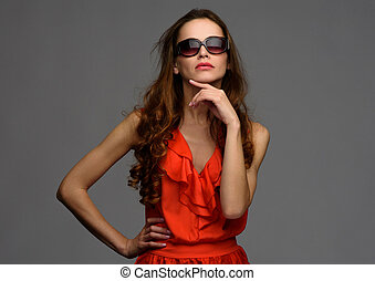 Fashion woman wearing stylish sunglasses