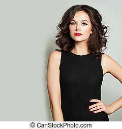 Fashion woman with makeup and bob curly haircut portrait